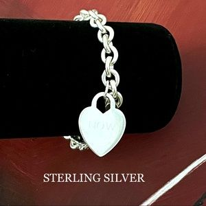"""STERLING SILVER HEART TAG CHARM BRACELET 925 """"NOW"""""""